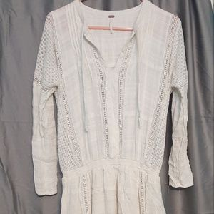 Free People cream mini dress cover-up long sleeve